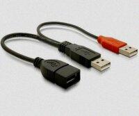 Kabel USB 2.0 Y Kabel Adapter 2x A Stecker auf A Buchse 0,3m
