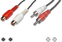 Kabel Cinch 2x Stecker auf 2x Buchse 2m