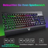Gaming Tastatur Metallic Rainbow LED mit Handgelenkauflage